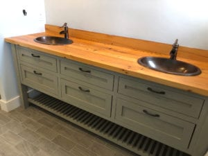residential custom wood vanity double sink